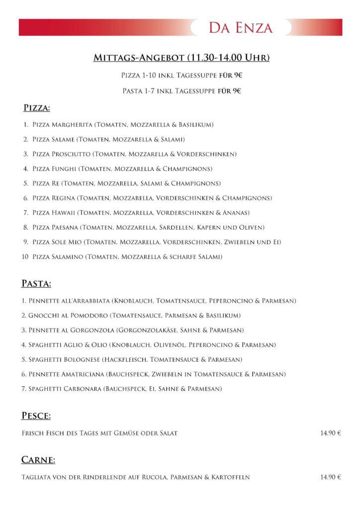 Restaurant Haar Speisekarte Dezember 1