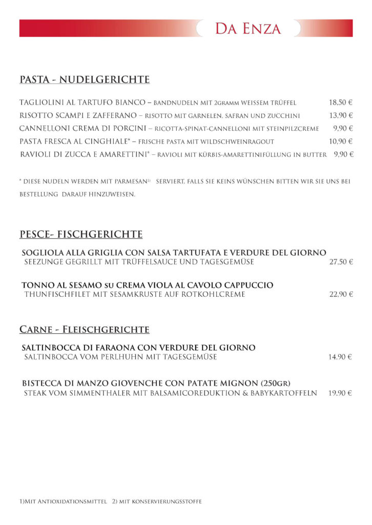 Restaurant Haar Speisekarte Dezember 4